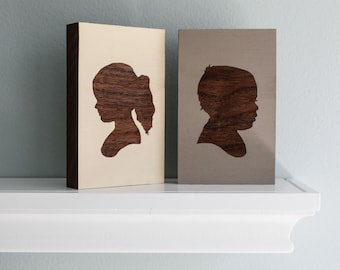 Personalized Children's Portrait Engraved on Painted Walnut Wood  Block - Mother's Day Gift Idea