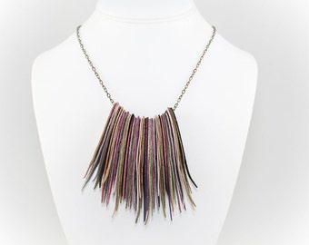 Upcycled Suede Fringe Necklace - Multicolored