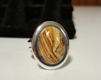 Adjustable Picture Jasper Gemstone Ring