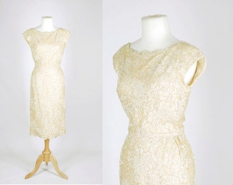 Vintage 50s dress // 1950s sequin lace // Champagne toast dress