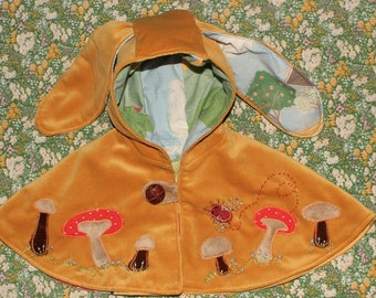 yellow velvet bunny ear cape with magical mushroom applique, for baby in first year,
