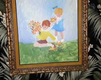 Vintage Painting Spring Flower Pickers In Ornate Wood Gold Frame