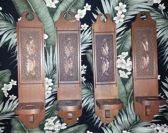 Vintage Hand Carved Wooden Candle Sconces