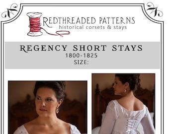 PDF DOWNLOAD Regency Short Stays Corset Pattern Size MEDIUM Printable Costume Sewing For Empire Napoleonic Jane Austen