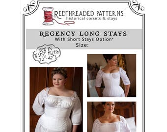 PDF DOWNLOAD Regency Long Stays Size 24 Plus Corset Digital Pattern Jane Austen Empire Printable Sewing