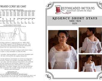 893618ba3f6 PDF DOWNLOAD Regency Short Stays Corset Pattern Size XS -- Printable  Costume Sewing Pattern for Empire