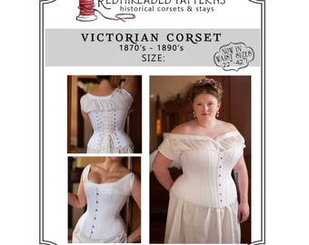 PDF Corset Pattern Plus Size 24 40 Waist Printable Victorian Sewing For Civil War Bustle Era Romantic Instructions Included