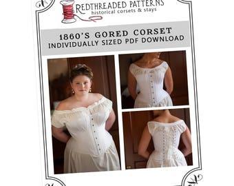 PDF 1860s Gored Corset Pattern