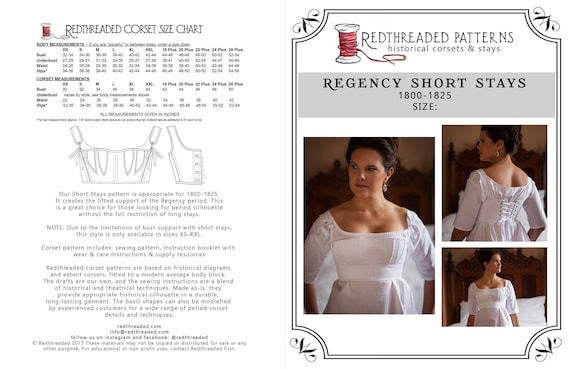 600cb1077b3 PDF DOWNLOAD Regency Short Stays Corset Pattern Size XXL