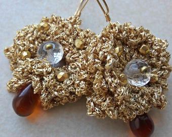 Große goldene gehäkelte Ohrringe, große Runde Seide Ohrringe, Bronze und Gold-Diva-Ohrringe, Ohrringe einzigartige häkeln, dramatische Partei Ohrringe Gold