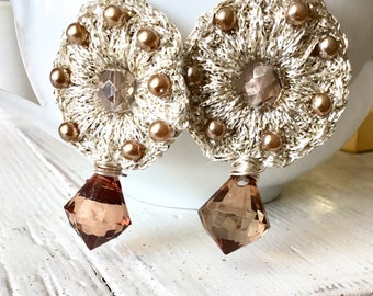 Large Silver Beaded Earrings, Bronze Crochet Discs, Big Round Silver Briolettes, Unique Statement Woven Earrings, Taupe