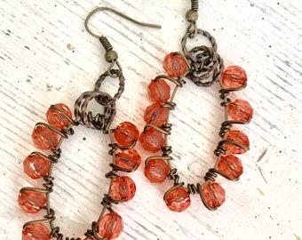 Copper Dangle Earrings, Orange Beaded Oval Hoops, Long Antiqued Earrings, Wire Wrapped Hoop Earrings, Tangerine Long Dangles, Fall Jewelry