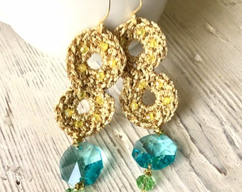 Extra Long Gold Earrings Crochet Circles Aqua Lime Green Big Earrings Bollywood Statement Bohemian Party Jewelry Turquoise Diva
