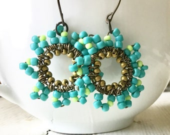 Free Shipping Earrings, Aqua Hoop Wire Wrapped Earrings, Hippie style Turquoise Lime Copper Earrings, Aquamarine Copper Hoops Beaded