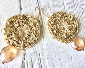 Huge Gold Earrings, Crochet Party Earrings, Topaz Bronze Statement Earrings, Diva Jewelery, Large Circle Gold Earrings