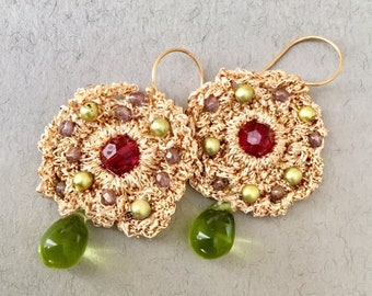 Huge Woven Gold Earrings, Bronze Beaded Earrings, Green Gold Crochet Circles, Orange Beaded Chandeliers, Large colorful Jewelry, Bollywood