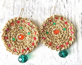 Huge Gold Earrings Crochet, Large Beaded Round Earrings, Colorful Bollywood Statement Jewelry, Red and Purple Crystal Earrings, Bohemian