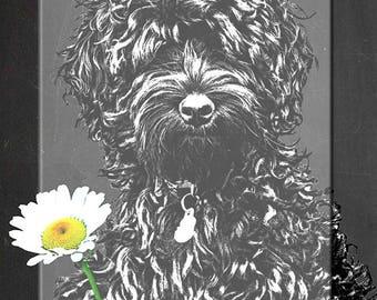 Cute Fluffy Dog. Art print Instant printable Digital Download..chalkboard background. Collage sheet.