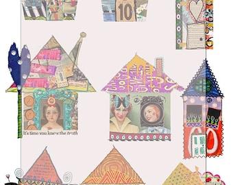 digital collage sheet/ whimsical houses/ scrapbook/journal art/Instant download.