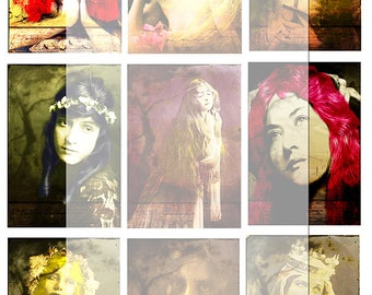 Artist Trading Card/Gothic vintage women 2/..... A4 digital download/collage sheet...