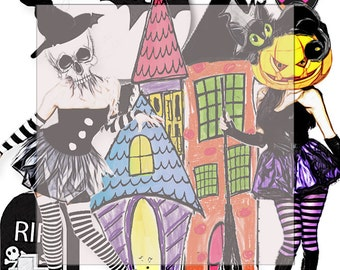 Instant Printable Digital Download. Halloween elements..... A4 DiGiTaL CoLLaGe sheet JoUrNaL/scrapbook ImAgEs