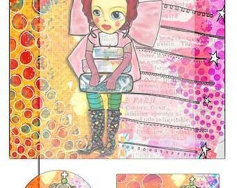 mixed media collage sheet No 4..... A4 DiGiTaL CoLLaGe JoUrNaL ImAgEs. Instant Digital Download.
