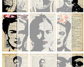 Frida Kahlo/ Frida khalo/ ATC images/ instant/ digital download /collage sheet