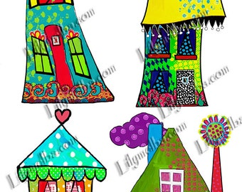 Hand painted whimsical houses no2 scrapbook/journal art. Instant printable Digital Download.