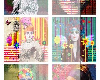 Digital Collage Sheet....Mixed media girls 2. Instant printable Digital Download.