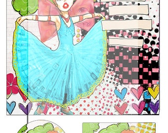 whimsical mixed media collage sheet No 5..... A4 DiGiTaL CoLLaGe JoUrNaL ImAgEs. Instant Printable Digital Download.