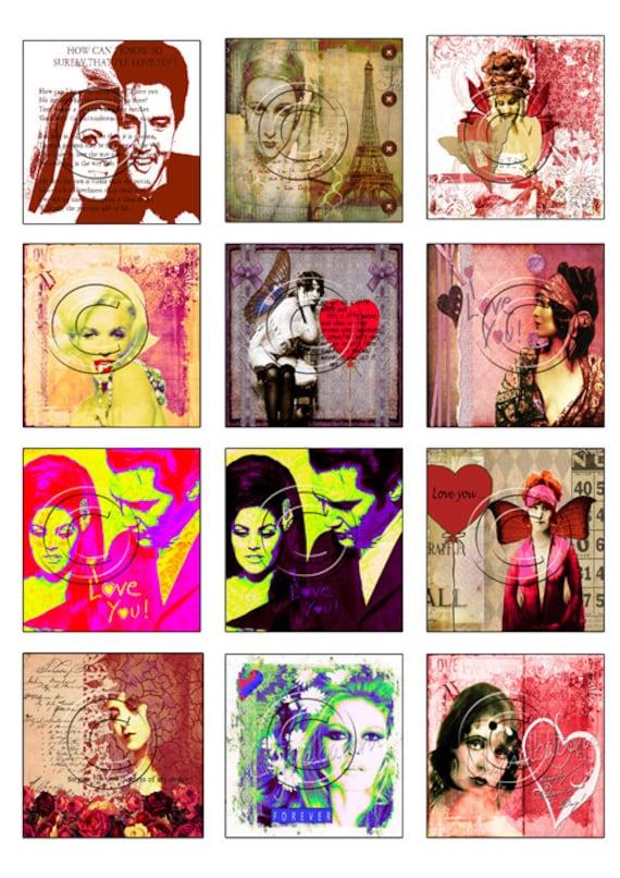 Vintage advertisementDigital Collage Sheet inchies or twinchies...Mixed media girls Instant printable Digital Download.