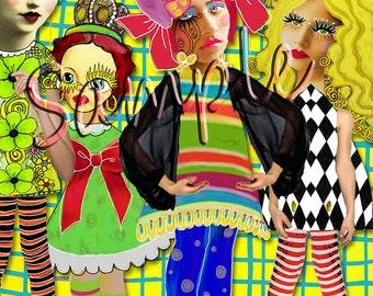A4/ paper dolls/ mixed media/ journal art sheet No3/ instant/digital printable digital download.