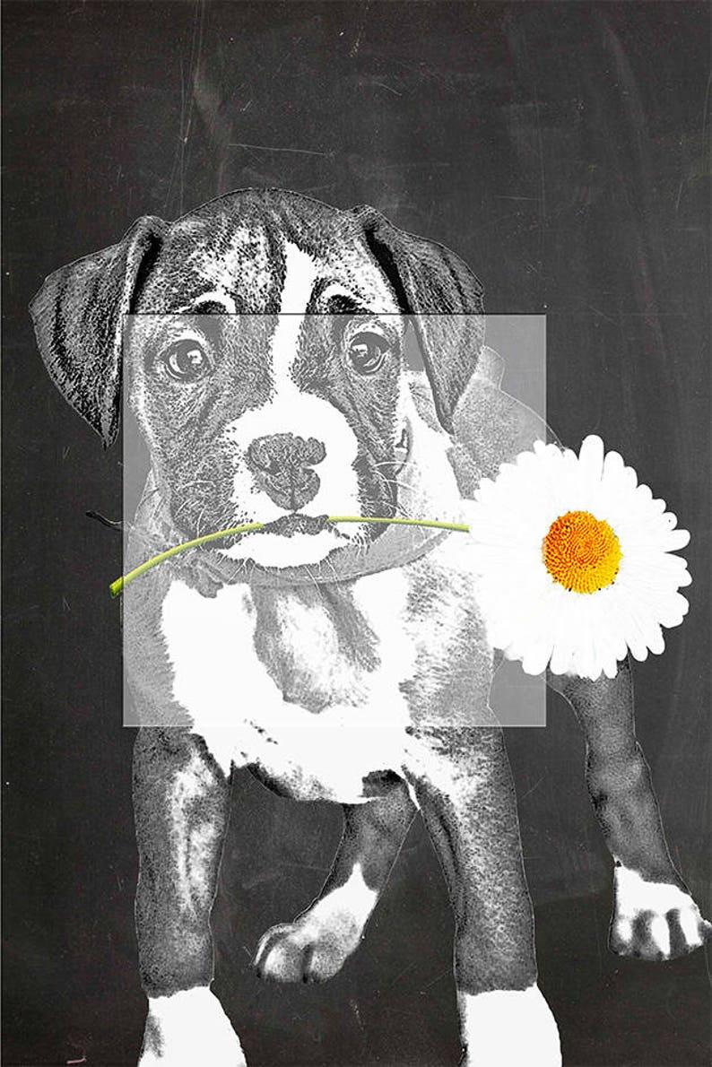 Cute Boxer Puppy. Art print Instant Printable Digital image 1