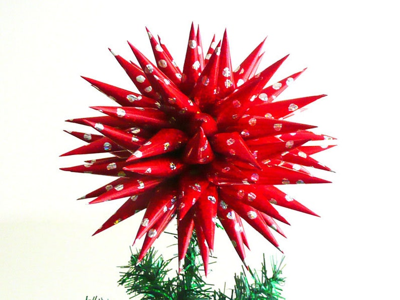 NEW Red Christmas Tree Topper Shiny Sparkly 3D Star Cheerful image 1