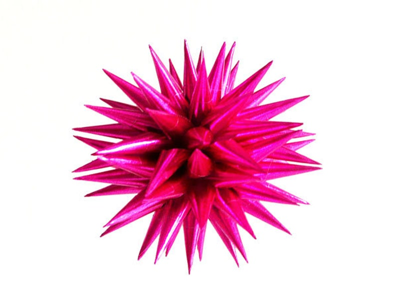 Vintage Style Hot Pink Paper Christmas Ornament Spiky Retro image 0