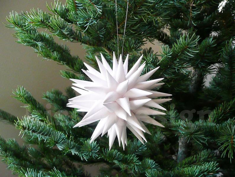 4 inch Linen White Modern White Christmas Ornament Polish Star Jezyk Rustic Minimalist Pretty Paper Folk Art Christmas Ornaments