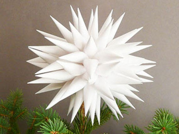 Christmas Tree Topper.White Star Tree Topper Modern Paper Polish Star Handmade Christmas Tree Toppers Linen White