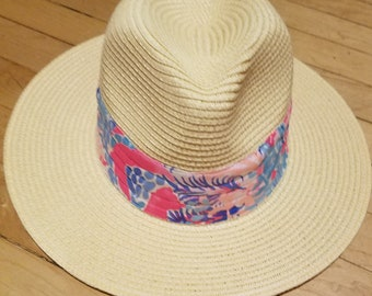 fb9691e4 Ladies wide brim Fedora hat made with a Lilly Pulitzer fabric band
