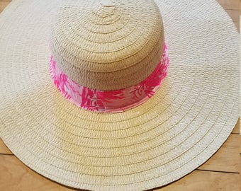 Ladies sun hat made with a Lilly Pulitzer fabric band