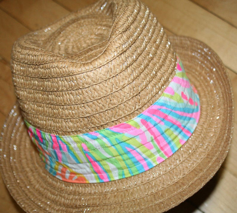 f487012049 Ladies Fedora hat made with a Lilly Pulitzer fabric band