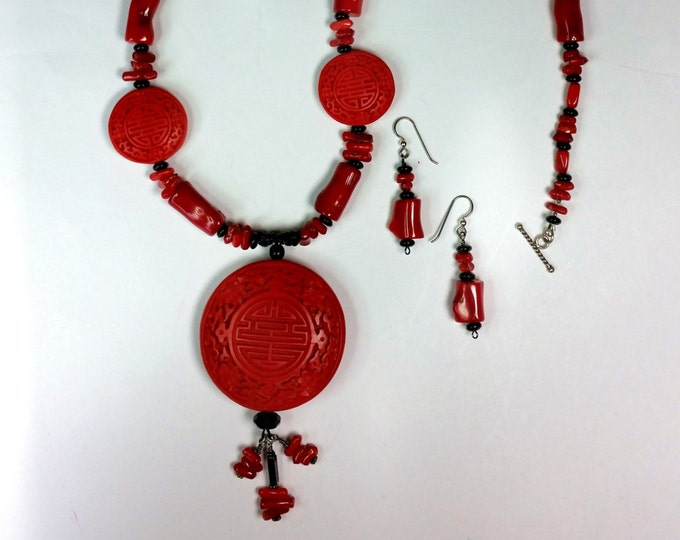 Red Round Cinnabar Pendant Necklace Set - Red and Black Jewelry - Asian Theme Jewelry - Valentine Jewelry