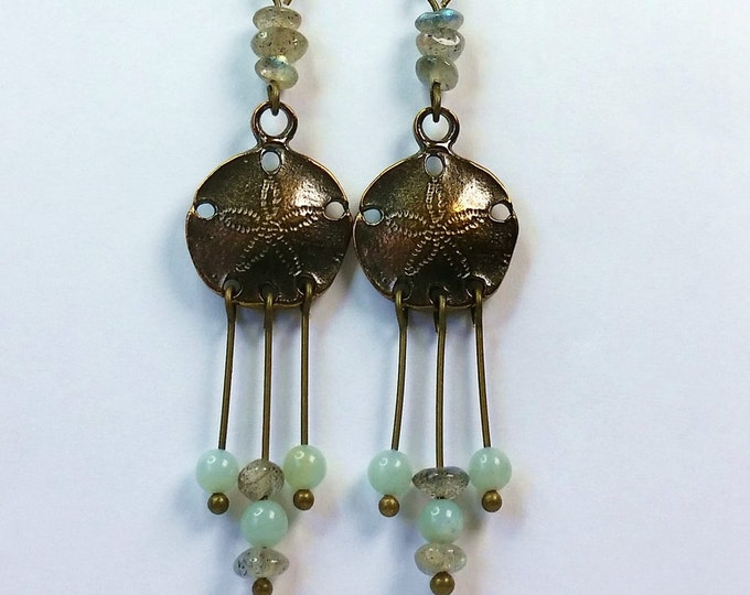 Sand Dollar Chandelier Earrings - Antique Brass Earrings - Labradorite and Amazonite Earrings - Chandelier Earrings