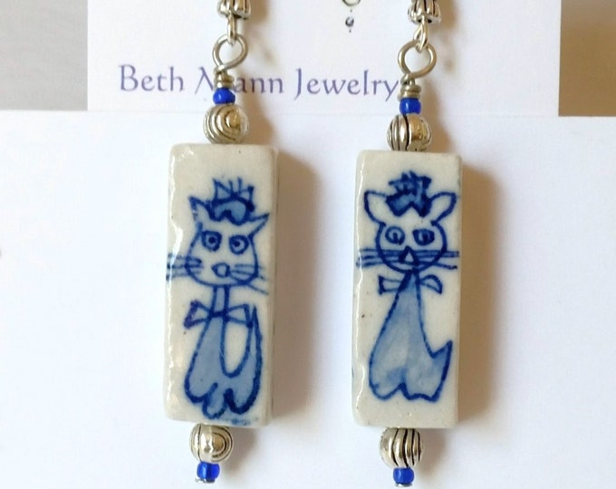 Cat Earrings - Cat Themed Jewelry - Blue and White Earrings - Porcelain Earrings - Rectangular Earrings