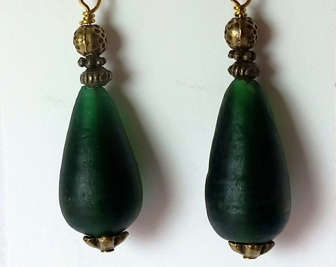 Teardrop Earrings of Vintage Glass in Matte Forest Green - Dark Green Earrings with Antique Brass Setting