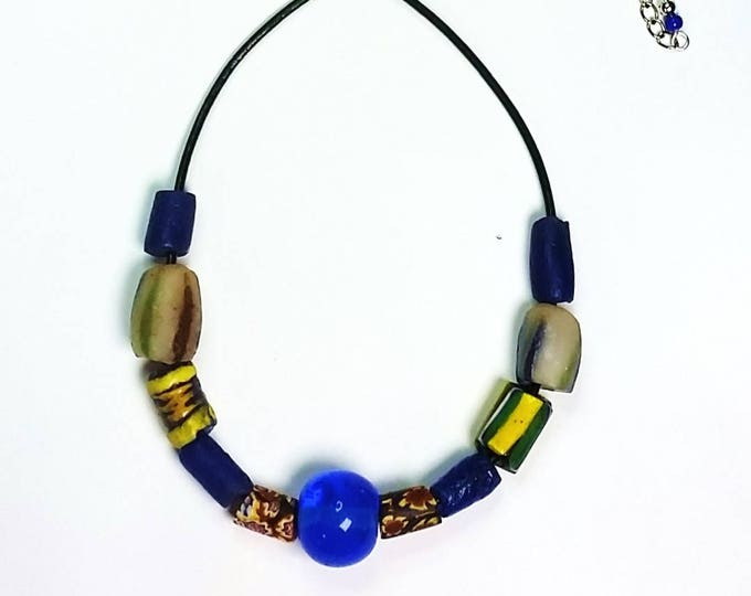 Trade Bead Necklace on Leather Cord #2 - Unisex Jewelry - Colorful Short Necklaces - Necklaces on Leather Cord