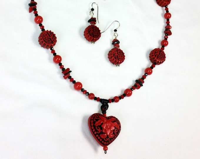 Red Cinnabar Sweetheart Necklace Set - Valentine Present - Heart Shaped Cinnabar Pendant - Red Jewelry