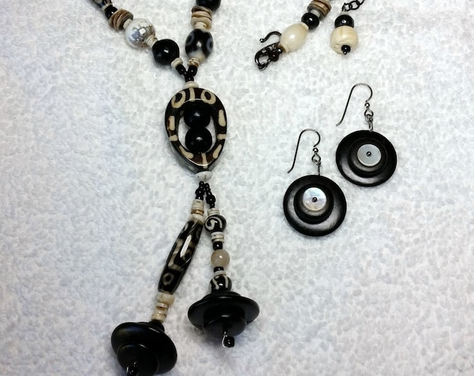 Black and White Native African Inspired Necklace with Matching Earrings