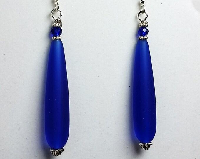 Cobalt Blue Earrings of Cultured Beach Glass - Royal Blue Elongated Teardrop Matte Finished Earrings