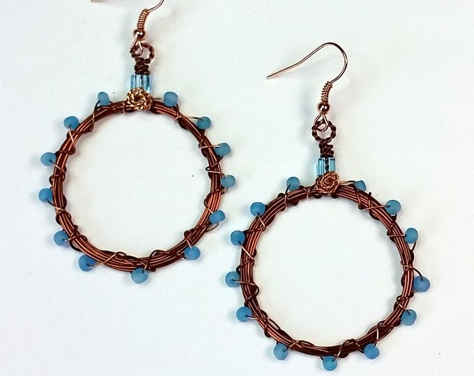 Dark Copper Hoop Earrings with Aqua Bead Accent on Copper Ear Wire