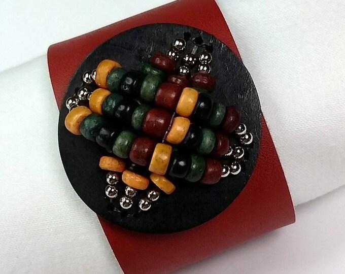 Red Leather Cuff - Adjustable Cuff Bracelet - Vintage Focal - Red Jewelry - Red Bracelets - Boho Cuff - Valentine Jewelry